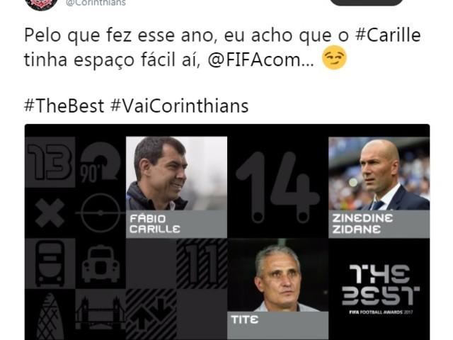 Corinthians brinca e indica Carille ao prêmio de melhor técnico do mundo da Fifa