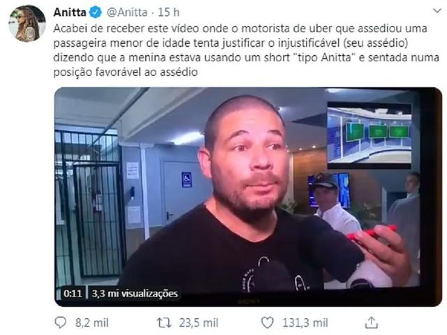 Anitta se manifesta após ser citada por motorista assediador de menor