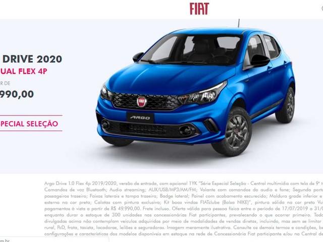 [Oferta Fiat] Argo Seleção é vendido por R$ 49.990