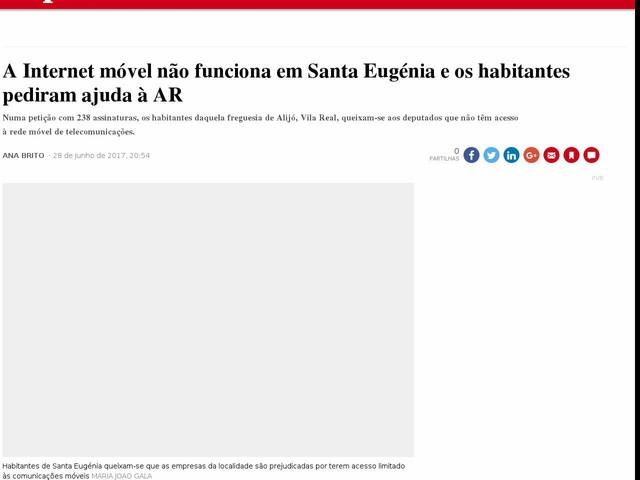 A Internet móvel não funciona em Santa Eugénia e os habitantes pediram ajuda à AR