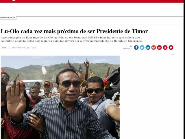 Lu-Olo cada vez mais próximo de ser Presidente de Timor
