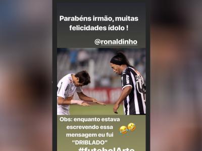 """Neymar parabeniza Ronaldinho: """"Enquanto estava escrevendo, eu fui driblado"""""""