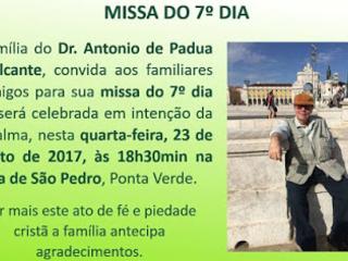 Comunicado : Missa de sétimo ( 7º ) dia do médico Antônio de Pádua Cavalcante