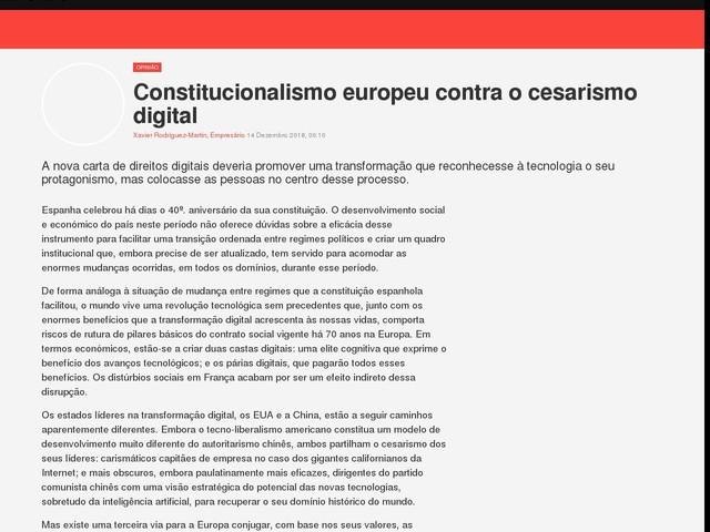 Constitucionalismo europeu contra o cesarismo digital