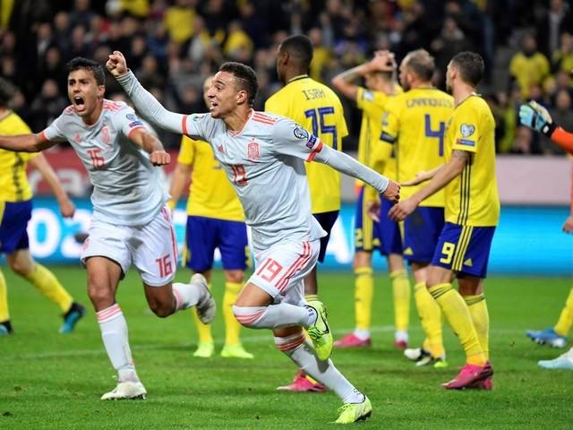 Espanha empata com a Suécia com gol de Rodrigo no fim e conquista vaga na Euro