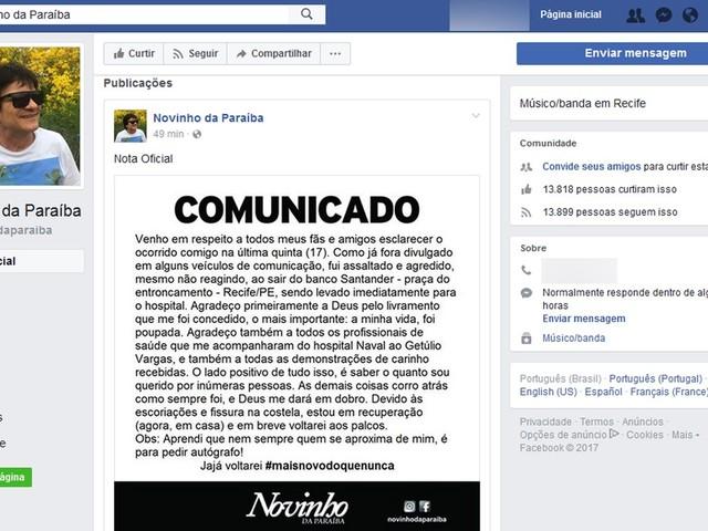 'Nem sempre quem se aproxima de mim é para pedir autógrafo', diz cantor agredido em assalto no Recife