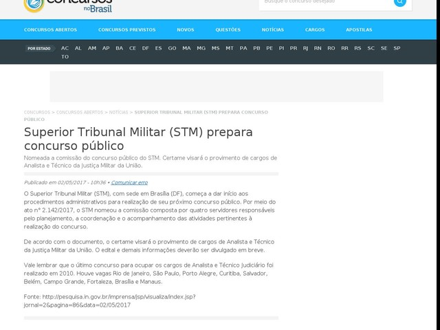 Superior Tribunal Militar (STM) prepara concurso público