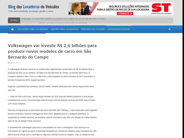 Volkswagen vai investir R$ 2,6 bilhões para produzir novos modelos de carro em São Bernardo do Campo