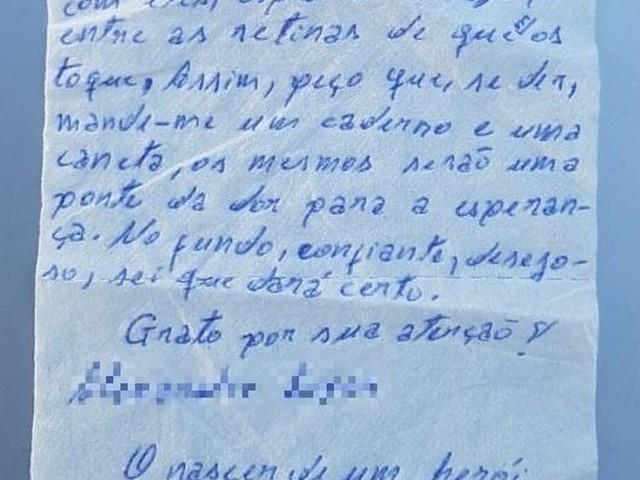 Detento escreve poema em papel higiênico e pede caderno e caneta a professor no Ceará
