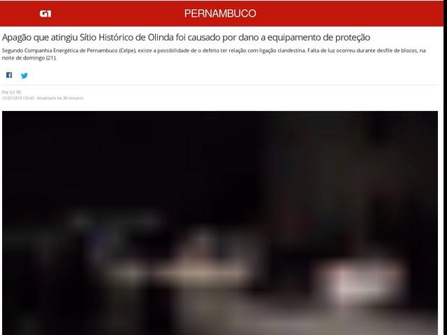Apagão que atingiu Sítio Histórico de Olinda foi causado por dano a equipamento de proteção