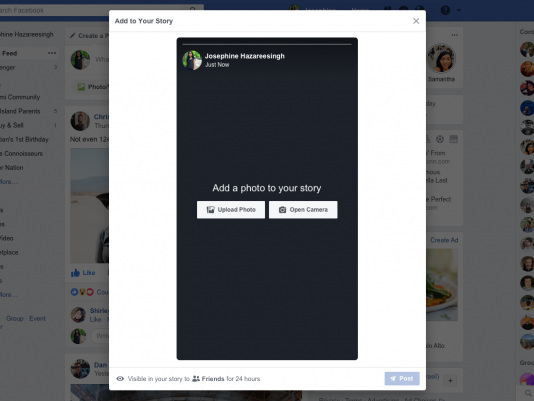 Facebook testa enviar stories através do desktop