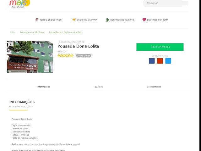 Pousada Dona Lolita - Cachoeira Paulista - SP