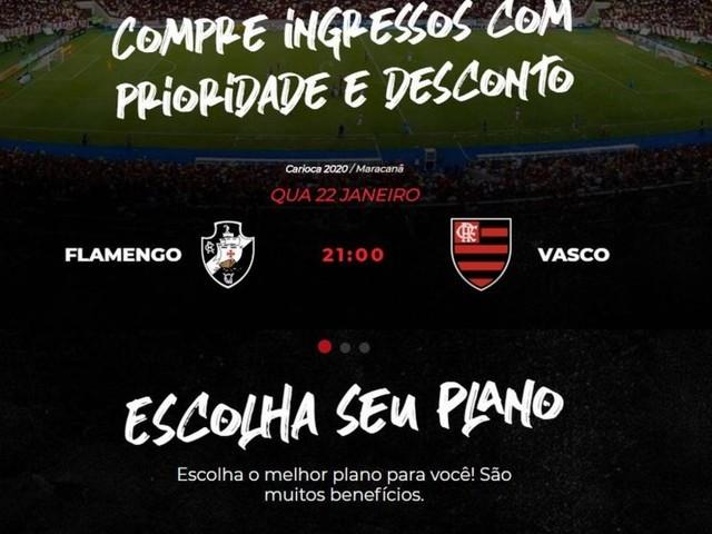Site do Flamengo comete gafe e mistura nome do clube com escudo do Vasco