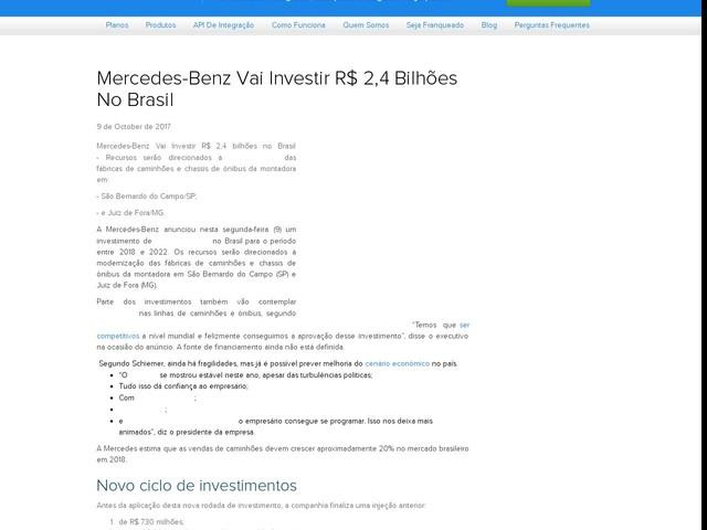 Mercedes-Benz Vai Investir R$ 2,4 Bilhões No Brasil