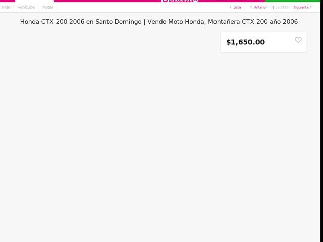 Vendo Moto Honda, Montañera CTX 200 año 2006