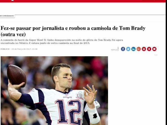 Fez-se passar por jornalista e roubou a camisola de Tom Brady (outra vez)