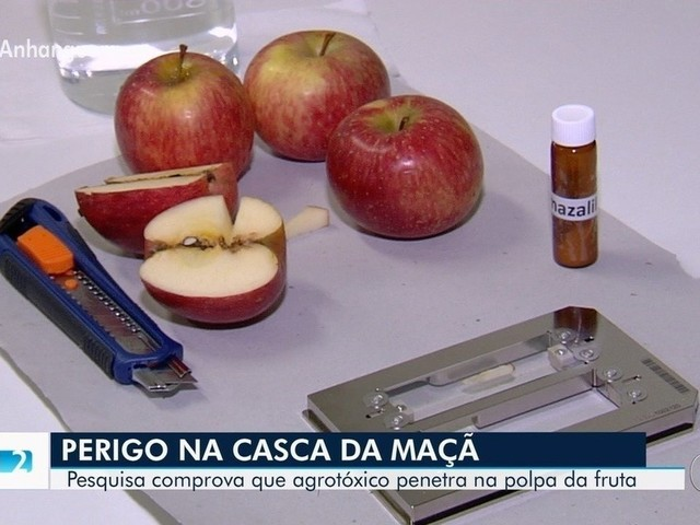 Pesquisa da UFG concluiu que agrotóxico penetra além da casca da maçã