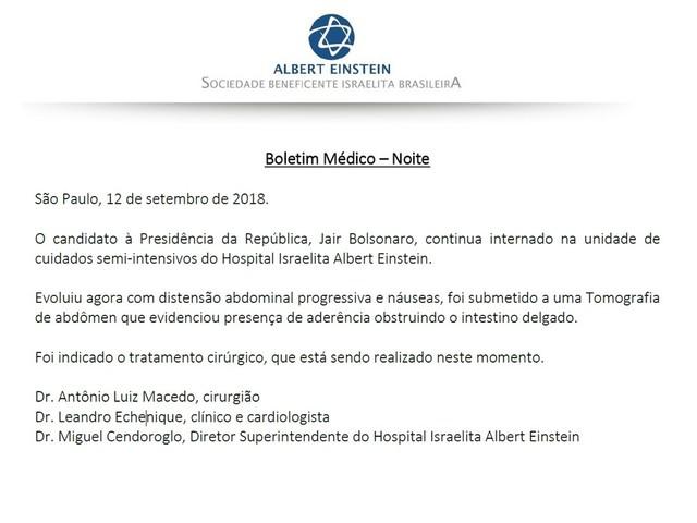 Jair Bolsonaro passa por nova cirurgia