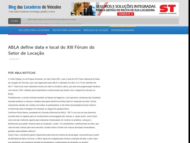 ABLA define data e local do XIII Fórum do Setor de Locação