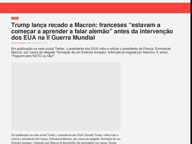 """Trump lança recado a Macron: franceses """"estavam a começar a aprender a falar alemão"""" antes da intervenção dos EUA na II Guerra Mundial"""