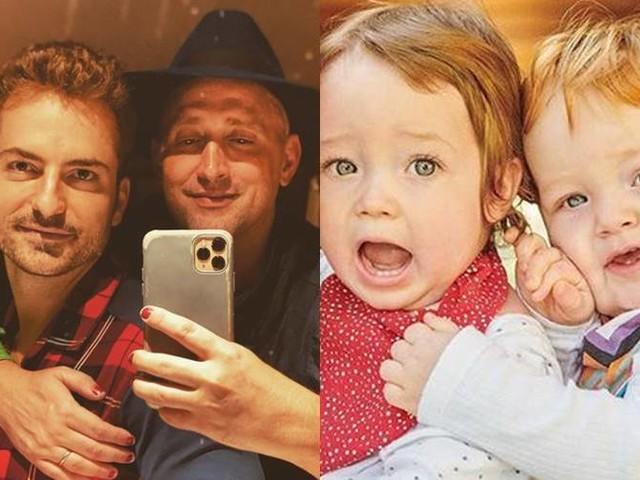 """Paulo Gustavo encanta a web ao mostrar foto do marido com os filhos: """"amores"""""""
