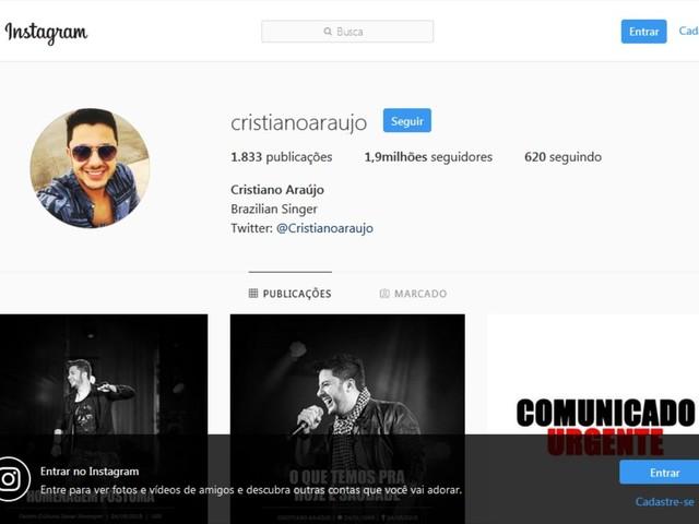 Conta de Cristiano Araújo é reativada em rede social após apelo dos fãs