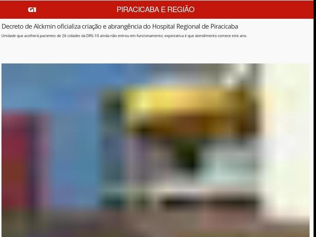 Decreto de Alckmin oficializa criação e abrangência do Hospital Regional de Piracicaba