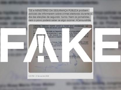 É #FAKE que TSE e ministério censuram informação de crimes no 2º turno