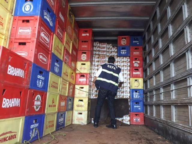 Carga com mais de 35 mil latas de cerveja é apreendida na BR-010