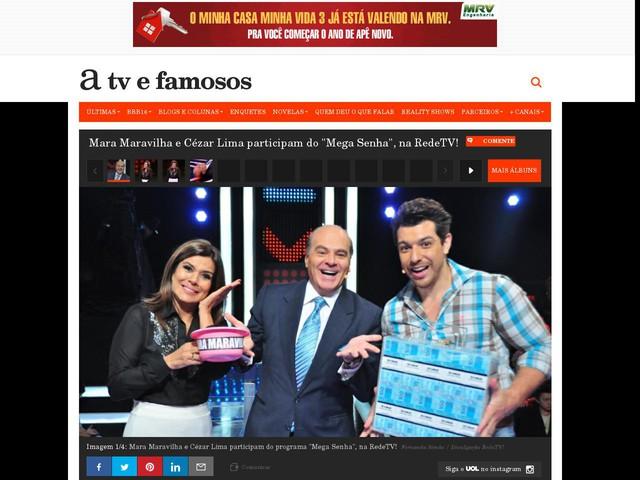 """Mara Maravilha e Cézar Lima participam do """"Mega Senha"""", na RedeTV!"""