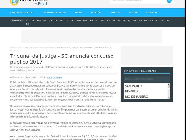 Tribunal da Justiça - SC anuncia concurso público 2017