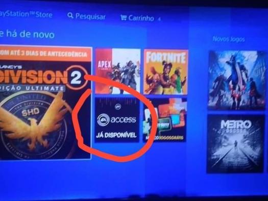 EA Access é visto em ícone da PlayStation Network brasileira