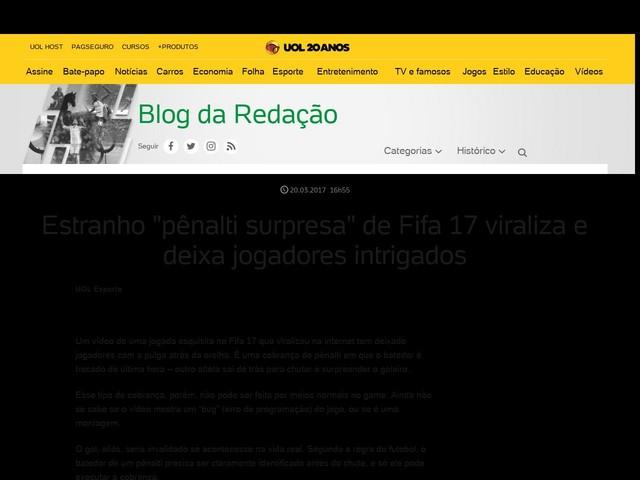 "Estranho ""pênalti surpresa"" de Fifa 17 viraliza e deixa jogadores intrigados"