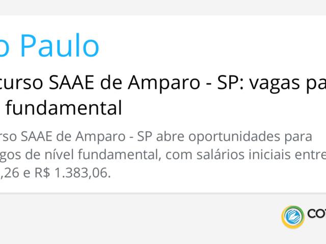 Concurso SAAE de Amparo - SP: vagas para nível fundamental
