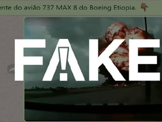 É #FAKE que vídeo mostra queda e explosão de Boeing 737 próximo a ônibus na Etiópia