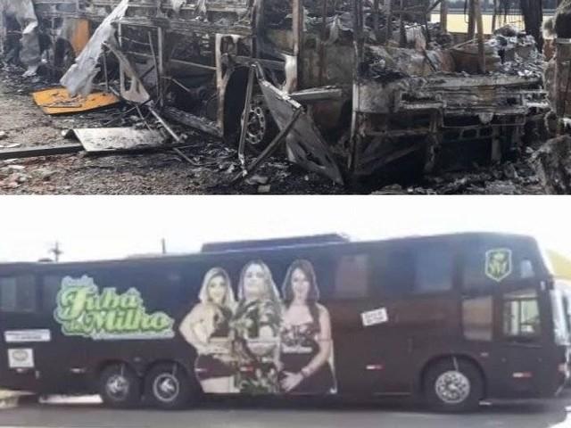 Banda de forró tem ônibus queimado em ataque criminoso no Ceará