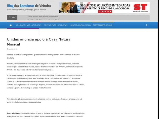 Unidas anuncia apoio à Casa Natura Musical