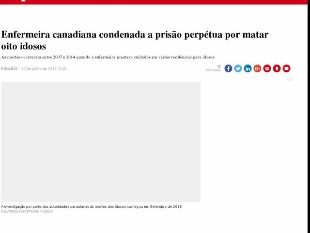 Enfermeira canadiana condenada a prisão perpétua por matar oito idosos