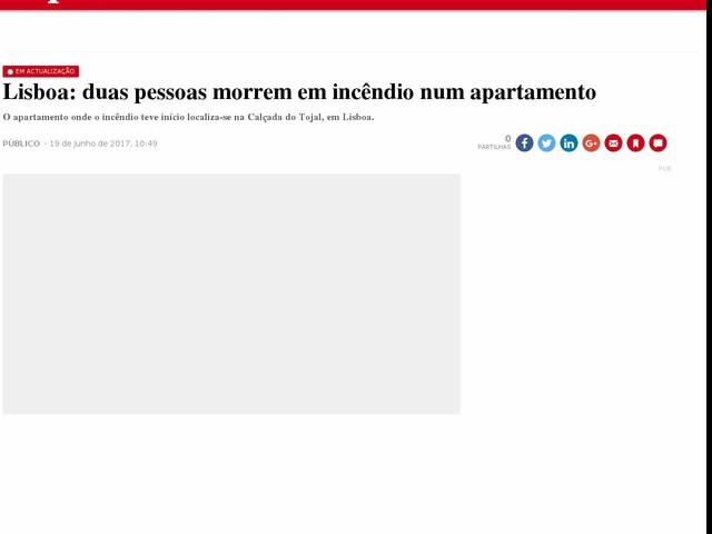 Lisboa: duas pessoas morrem em incêndio num apartamento