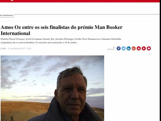 Amos Oz entre os seis finalistas do prémio Man Booker International