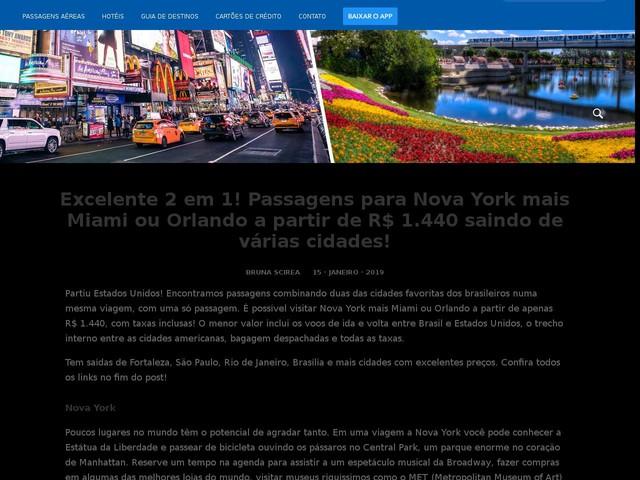 Excelente 2 em 1! Passagens para Nova York mais Miami ou Orlando a partir de R$ 1.440 saindo de várias cidades!