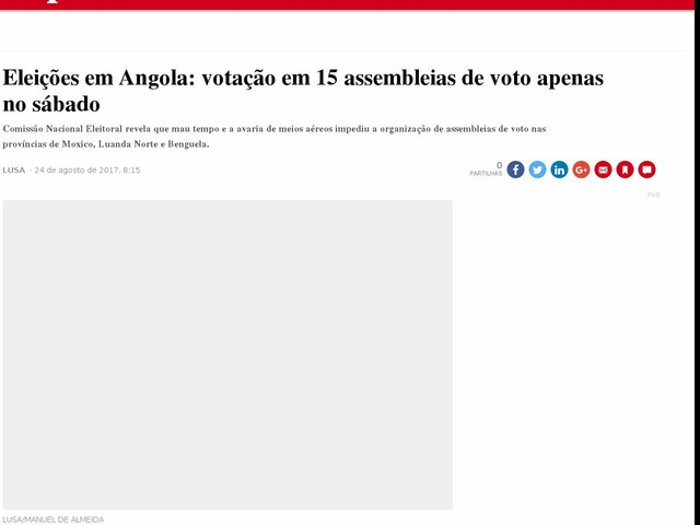 Eleições em Angola: votação em 15 assembleias de voto apenas no sábado