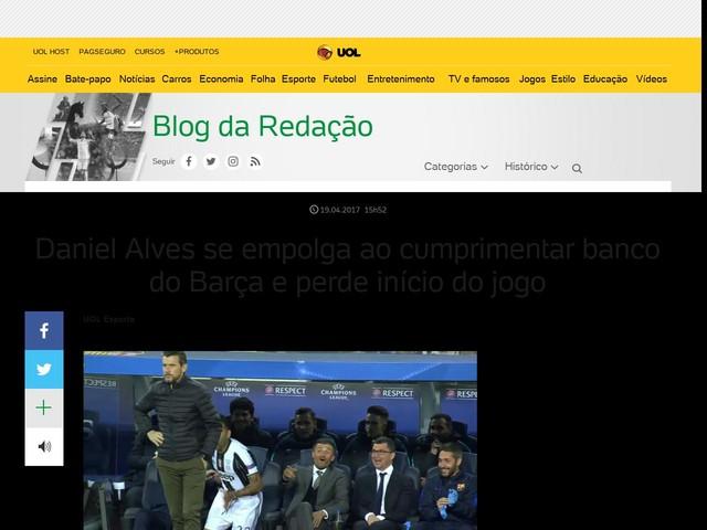 Daniel Alves se empolga ao cumprimentar banco do Barça e perde início do jogo