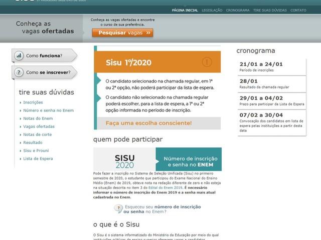 Sisu 2020: dicas para inscrição na seleção do primeiro semestre, que abre na próxima semana