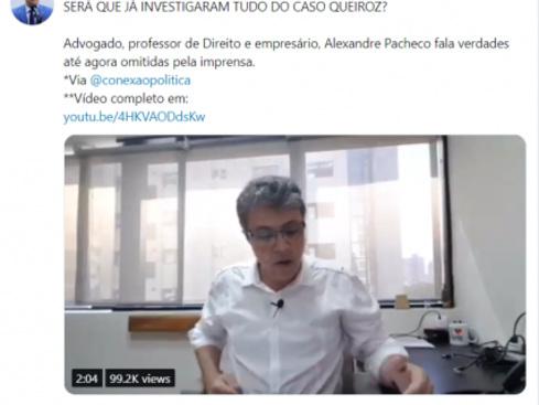 Eduardo Bolsonaro usa o Twitter em defesa do irmão no caso Queiroz