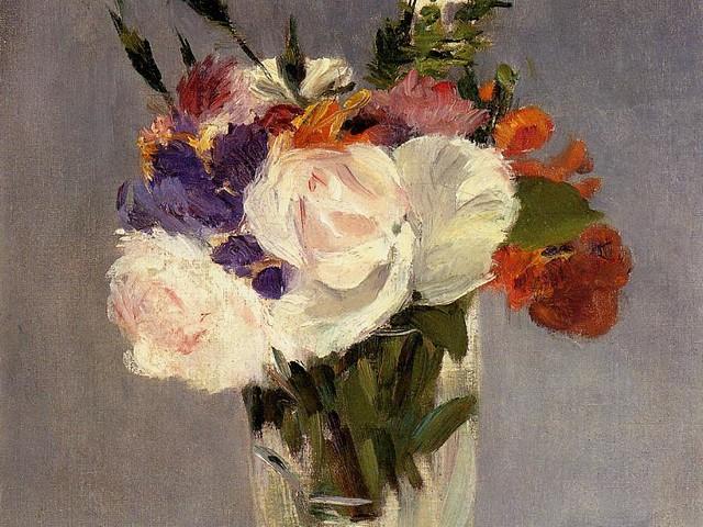 Os singelos e extraordinários, vasos com flores de Édouard Manet