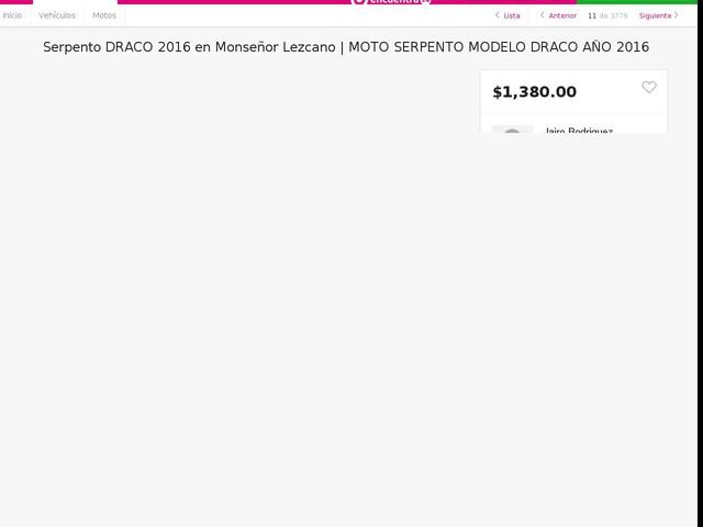 MOTO SERPENTO MODELO DRACO AÑO 2016