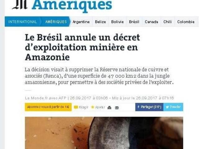 'Le Monde': Temer revoga decreto da Renca mas não descarta exploração mineral