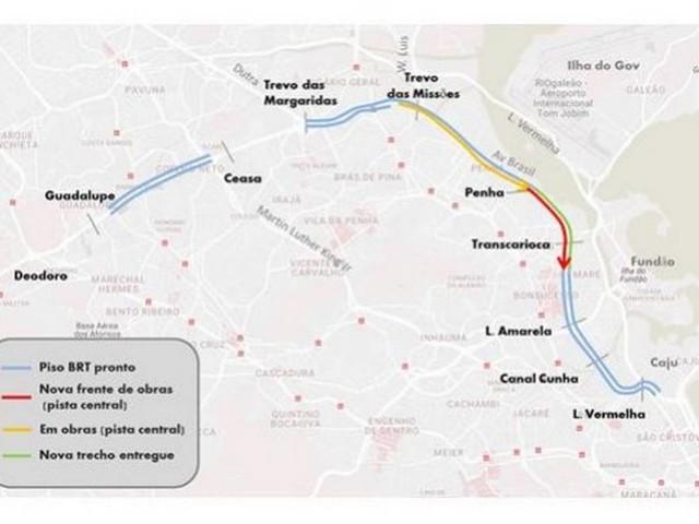 Avenida Brasil terá mudanças no tráfego neste fim de semana