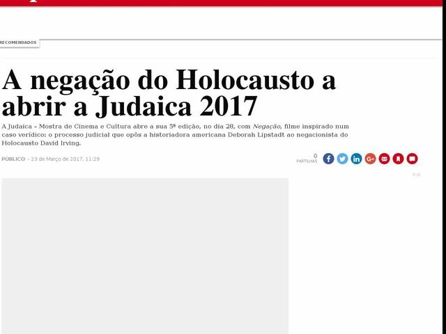 A negação do Holocausto a abrir a Judaica 2017